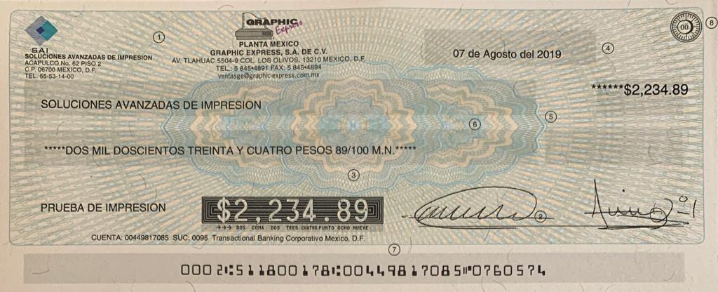 cheque impreso con toner magnetico para cheques