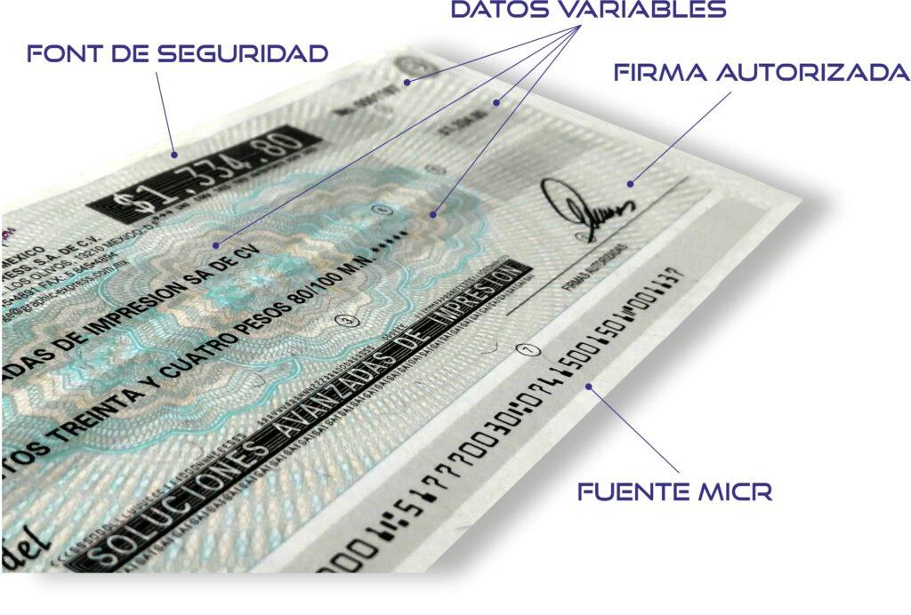 Partes del cheque MICR